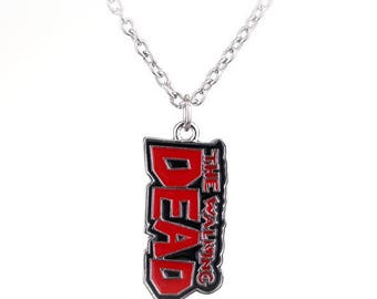 """WALKING DEAD ~ BLOOD Red Enamel Pendent  + Silver 24"""" Necklace  - Horror Zombie Cosplay"""