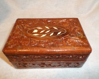 Vintage Wooden Trinket Box Made in India