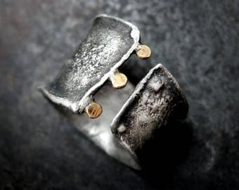 SALE! coupon code: SALE15 Golden dots - silver and gold ring, solid ring, rough, raw, sterling silver, golden ring