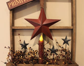 Tobacco Lath Window Box with LED Timer Battery Operated Candle and Stars and Pip Berries