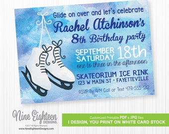 Ice Skating Brithday Party INVITATION. Personalized Printable PDF and JPG.