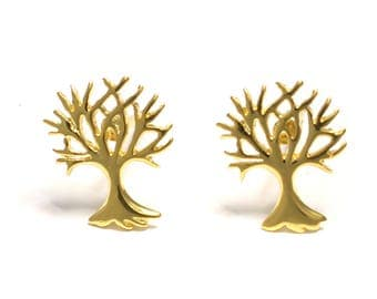 Gold-plated tree of life earrings 925 sterling silver