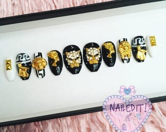 NAILED IT! Hand Painted False Nails - Egyptian Monochrome