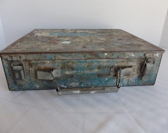 Shabby Metal Box. Rustic Metal Box