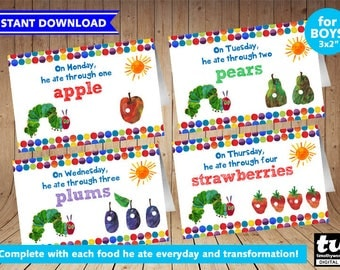 Very Hungry Caterpillar Food Tent - Complete with each food he ate everyday - Boy Version - INSTANT DOWNLOAD