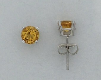 Natural Citrine Stud Earrings 925 Sterling Silver