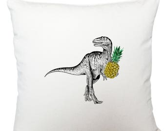 Dinosaur with pineapple cushion cover, scatter cushion, throw cushion, white cushion