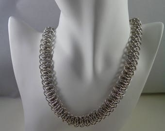 Silver Viperscale Chainmail Necklace, Chainmaille Necklace, Chain Maille Necklace, Chain Mail Necklace