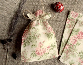50 Original Linen Pouches with Roses Print Jewelry Gift Pouches Rustic Gift Small Bags Wedding Gift Pouches