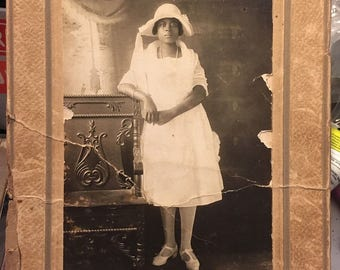 Graduation Shabby Vintage  African American Woman Antique Cabinet Photo