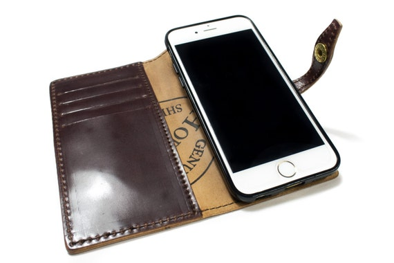 iPhone Shell CORDOVAN Leather Case Wallet Bifold Style for iPhone 7 6S & 6S PLUS iPhone 5S