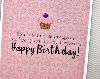 Not a Cougar Birthday card
