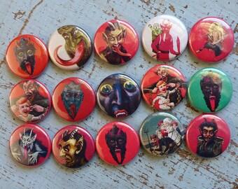 Krampus Pins, Creepy Christmas Buttons, Horror Xmas Pins, Christmas Gag Gift, Devil Pins