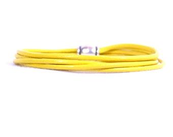 Bone Cancer Awareness Bracelet - Soft Yellow 2mm Round Indian Leather Bracelet (2R-91)