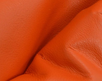 "Classic Orange Crush ""Signature""  Leather Cow Hide 12"" x 12"" Pre-Cut 2-2 1/2 oz flat grain DE-52160 (Sec. 8,Shelf 3,D)"