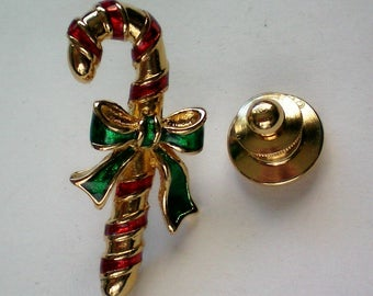 Avon Candy Cane Tie Tack Hat Pin for Christmas Holidays - 4988