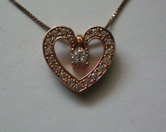 Sterling with Vermeil Valentine Heart Pendant Necklace - 5179