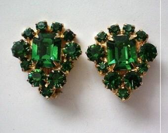 St. Patrick's Emerald Green Rhinestone Clip Earrings - 5194
