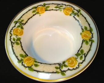 Theodore Haviland Ramekin Yellow Roses Greenery MINT Gold Limoges Rimmed White Schleiger No.