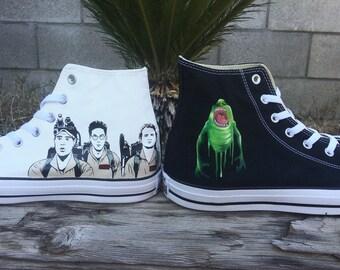 Custom Ghostbusters themed artwork on converse.