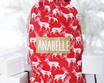 Personalised Nordic Stag Reindeer Christmas Santa sack stocking Any Name