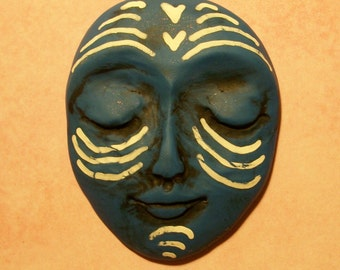 SALE - Polymer Clay One of a Kind Face CABOCHON,45mm by 36mm,large,large focal,dark blue pearl,bead,ABORIGINAL,african,hearts,tribal