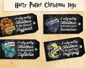 Harry Potter Christmas printable gift tags - DIY tags for gifts to print & favor tags - Instant download harry potter tag - Christmas tags