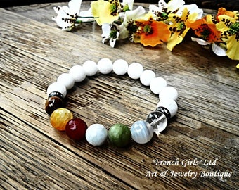 Chakra Gemstone Healing Beaded Bracelet Meditation Yoga Zen Universal Rock Crystal Stone Onyx Aquamarine Tigers eye Agate Clear Quartz