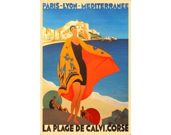 Corsica La Plage de Calvi Poster Broders PLM Railway Haute Corse Art Print 319