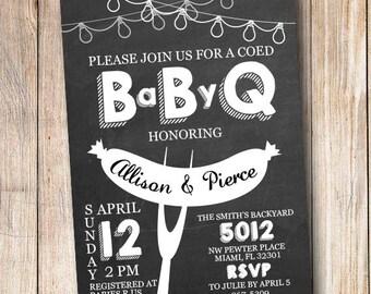 Baby Q Invite - Couples Baby Shower Invitation - Baby Barbecue Shower Invitation - Baby Shower - Printable Invitation Outside Shower - BabyQ