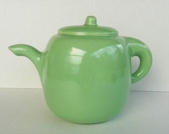 Vintage Haeger Pottery ~ Jadeite Color Teapot Planter ~ Light Green Tea Pot Planter With Original Sticker