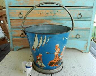 Antique Vintage Tin Sand Pail ~ Blue Lithograph Beach Toy ~ Sand Bucket ~