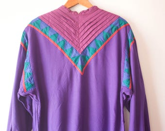 Vintage Purple Phool Blouse / 80s Clothing / 80s Blouse / Womens Blouses / Vintage 80s Blouse / Tribal Shirt / Vintage Clothing