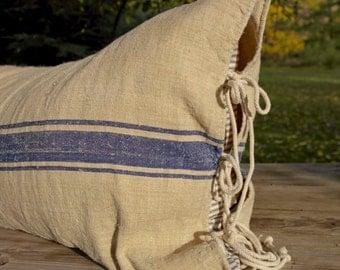 Vintage Grain Sack Body Pillow - Flax & Blue