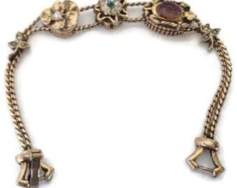 Goldette Victorian Style Slide Charm Bracelet