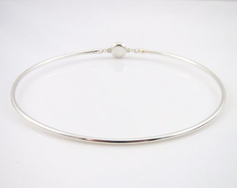 Sterling Silver Discreet Day Collar - 10 Gauge Round Wire w/ Locking Allen Key Clasp - Sized to Order