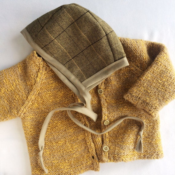 Handmade Baby Bonnet - Country Tweed Fabric,