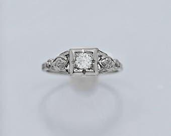 Art Deco Antique Engagement Ring .25ct. 18k White Gold - J36391
