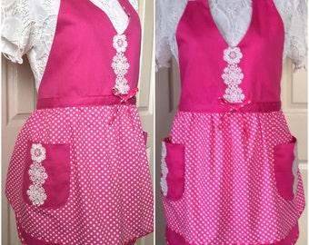 APRON, Women Apron, Full Apron, Handmade Pink & White Polkadot with White Lace Apron