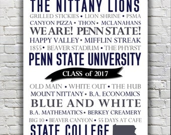 Penn State University Nittany Lions Typography Print - CUSTOMIZABLE Graduation Gift