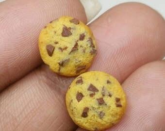 Handmade polymer clay chocolate chip cookie stud earrings, fake food jewelry, cute earrings, cookie earrings, miniature food