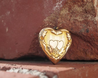Heart Locket Gold Filled Etched Raised Design Sweetheart