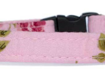 Noddy & Sweets Adjustable Cat Collar with bell and charm [Roses -pink]