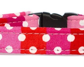 Noddy & Sweets Adjustable Cat Collar with bell and charm [Polka Stripes-Pink]