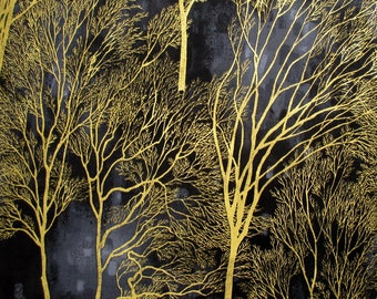 Fabric, Golden Forest Trees, Essence, Kona Bay, Metallic Gold on Black, Tree Branches, By the Yard