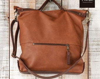 Brown leather tote, Laptop bags for women, Diaper leather bag, School shoulder bag