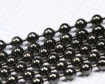 Gun Metal Tone Brass ball Chain with 2 (raw brass) connector
