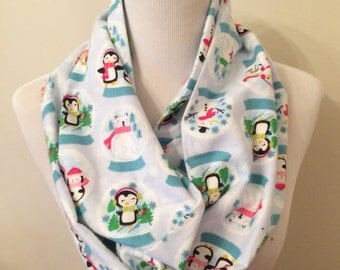 Snowglobe Infinity Scarf with Penguins, Snowmen and Polar Bears - Light Blue Infinty Scarf, Winter, Christmas