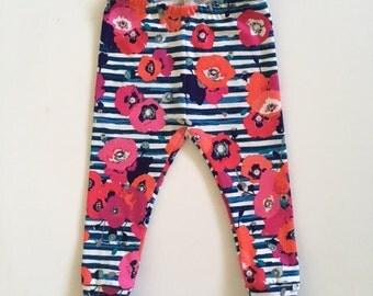 Infant/Toddler Knit Leggings-Pink & Coral Floral/Navy Stripe