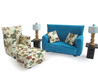 Barbie doll furniture 9 pc living room set by carrinnystudios for Barbie living room furniture set